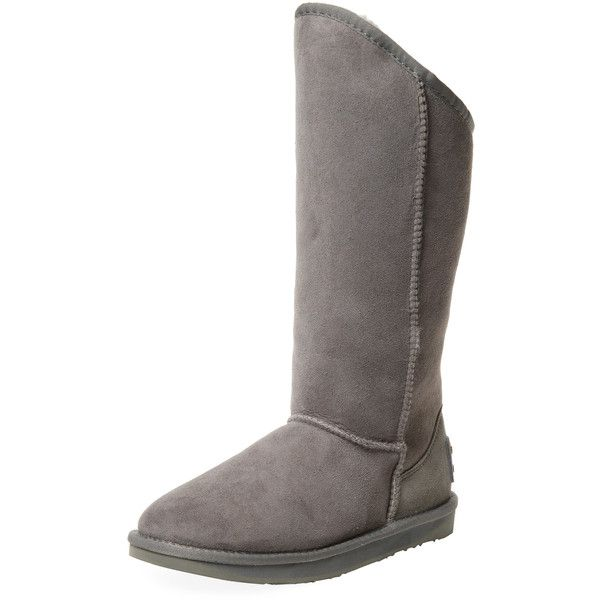 Australia Luxe Collective Women's Cosy Tall Sheepskin Boot - Grey,... ($75) ❤ liked on Polyvore featuring shoes, boots, grey, flat boots, faux-fur boots, tall sheepskin boots, sheepskin boots and gray tall boots