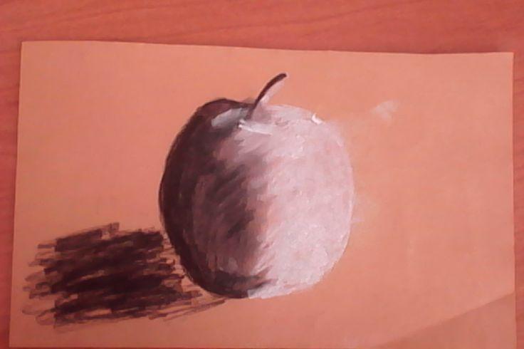 jablko - uhel + křída / apple