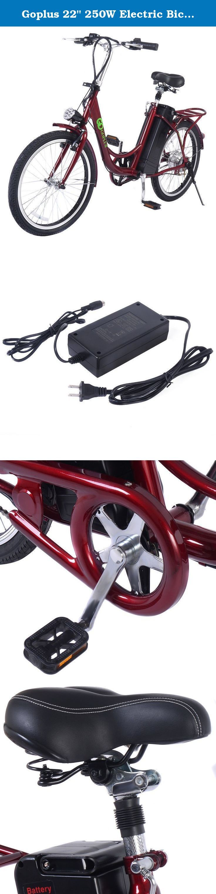 """Goplus 22"""" 250W Electric Bicycle Mountain Bike 36V Lithium Battery (Red). Specification Frame: Iron Frame+ Aluminum Alloy Hub Rear Motor: 250W Battery: 36V8AH Lithium Battery Charging Time: 5-6 Hours Max Speed: 35km/H Max Loading: 350lbs Range Per Charge: 25-35km With Pedal Assist Brake: Front V Brake, Rear Expansion Brake Weight:75lbs Charger Input: 100-240V,50/60HZ,18A Charger Output: 42V,1.6A AMA Brand Motor, Mobil Brand Battery Charger Package Includes: 1 X 22"""" Bike, 1xinstruction ."""