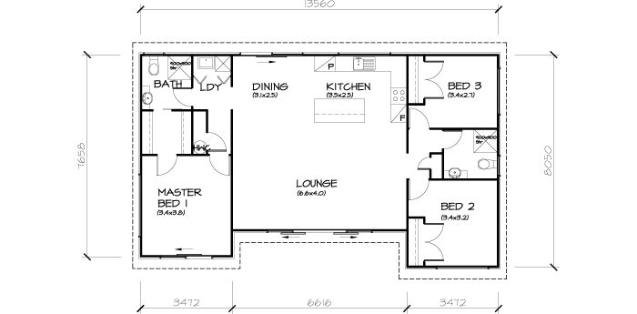 PLB102 3 Bedroom Transportable Homes House Plan