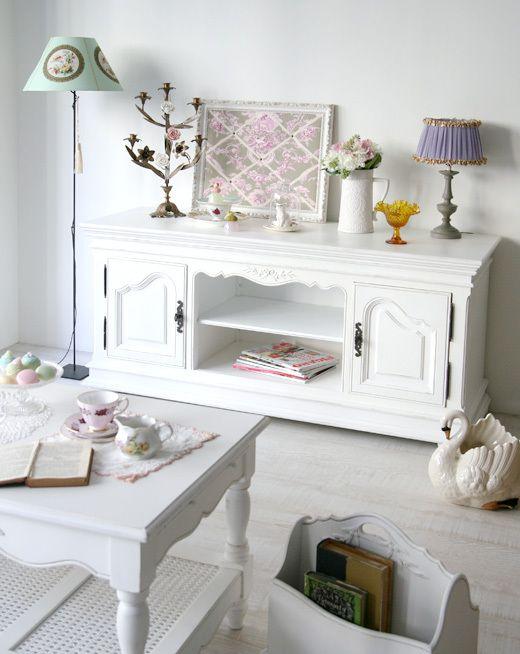 TV キャビネット (フランス アンティークホワイト塗装) - インテリアショップ・キノ Interior shop kino:アンティークオブジェやヨーロッパの家具・雑貨
