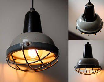 Éclairage au plafond | Lampe Cage usine industrielle | Pendentif Chandelier avec ampoule Edison | Lampe steampunk | Lampe des années 70 suspendue | Grange des lumières des années 70