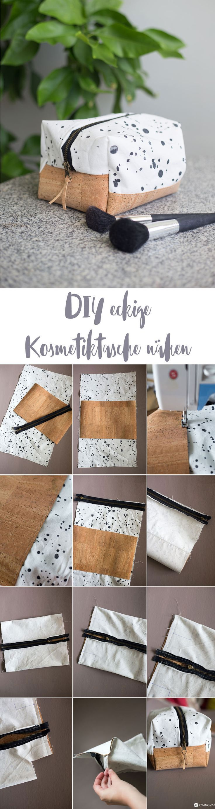 DIY eckige Kosmetiktasche selbernähen Schritt für Schritt Nähanleitung mit Korkboden in beliebiger Grö