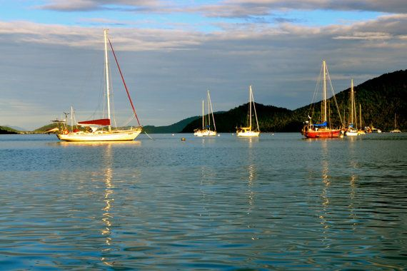 Aussie Greeting Photo Card. Sunset Shute Harbour by JenWatsonPhotography, $4.00