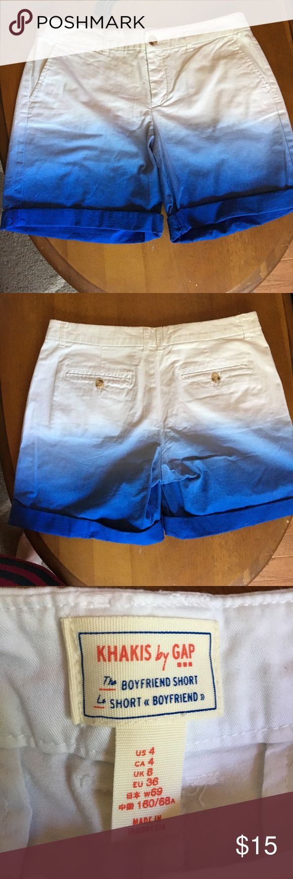 """Khakis by Gap blue and white ombré shorts Adorable ombré shorts from Gap. Hardly worn! 5"""" inseam without cuffing the bottom of the shorts. GAP Shorts"""