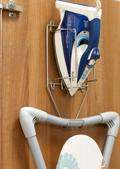 Ironing board and iron holder great for that space saving larder.