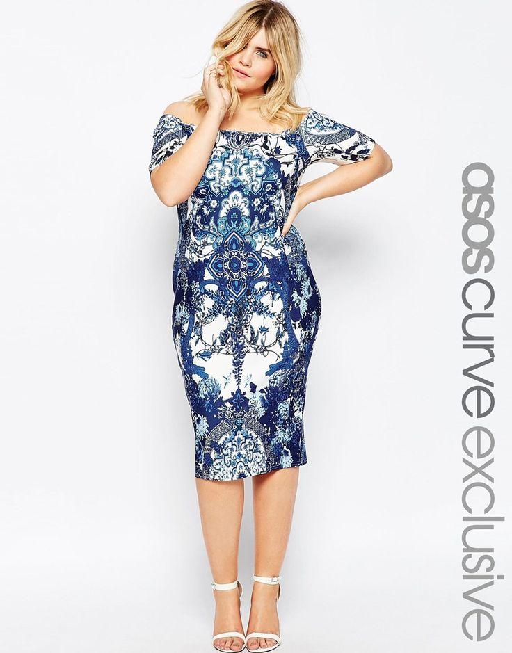 Image 1 of ASOS CURVE Porcelain Print Bardot Body-Conscious Dress