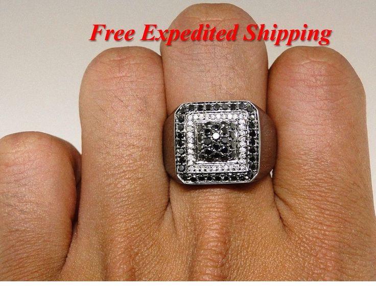 14K New Mens White Gold Black Diamond Ring Solitaire Band Pinky Ring 3.50 Ct #br925silverczjewelry #MensWeddingPinkyRing #WeddingEngagementAnniversaryPartyDailyWear