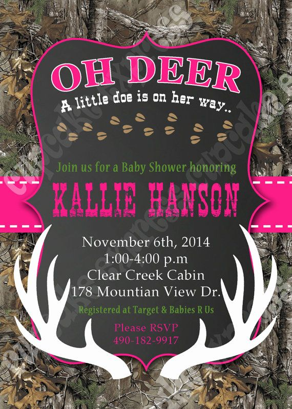 Camo Girl baby shower deer Hunting camouflage by CupcakeExpress