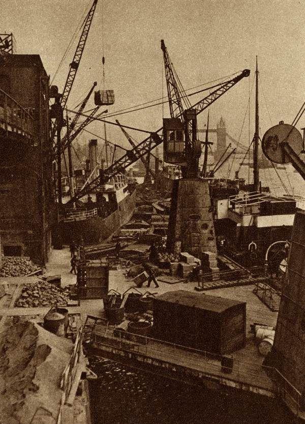 Wharves London bridge  produced by The Fleetway House in the nineteen-twenties