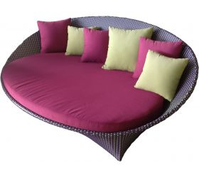 The 'Lily' daybed outdoor couch is available in 4 wicker colours: 'Salt', 'Pepper', 'Granite' or Purple / Green.