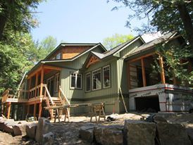 Build in progress on Four Mile Lake, ON- Integrity Construction