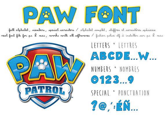 Paw Patrol font ttf instant download - Police d'écriture Pat Patrouille en téléchargement immédiat pour réaliser un anniversaire Pat Patrouille
