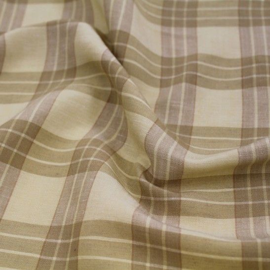 Plaid Cotton/Linen Blend - Tans - Gorgeous FabricsGorgeous Fabrics