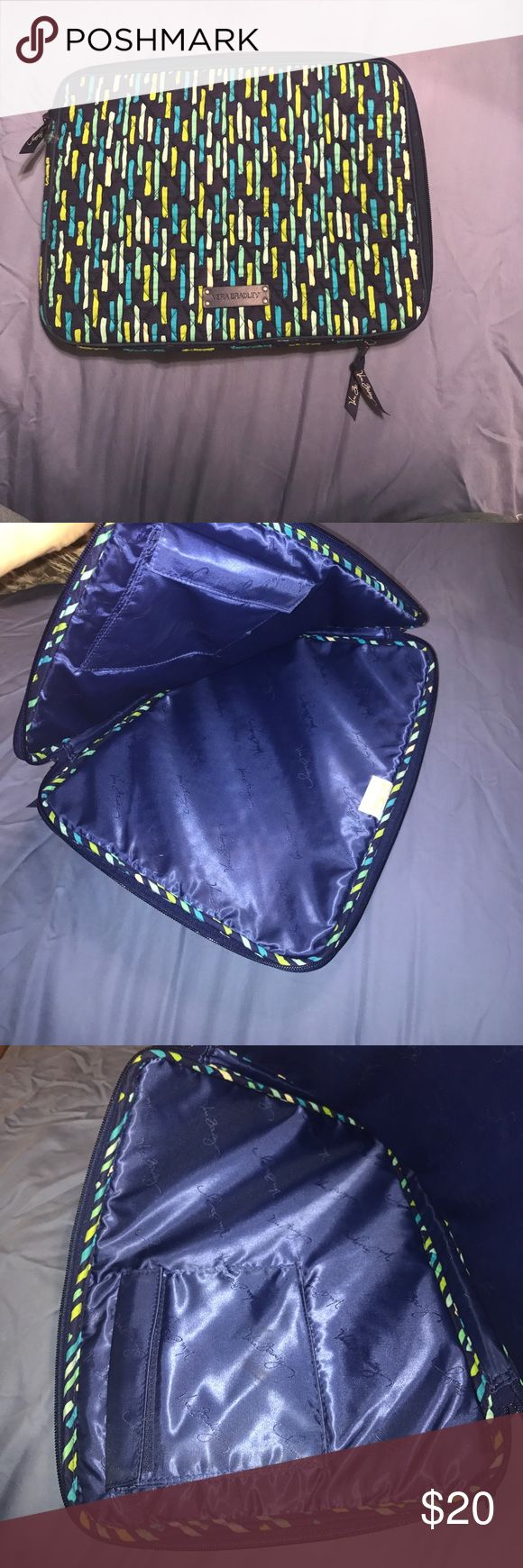 Vera Bradley Laptop Sleeve Blue green Vera Bradley laptop sleeve. Fits a 13in laptop. Has a Velcro pocket on the inside. Only used a few times. Vera Bradley Bags Laptop Bags