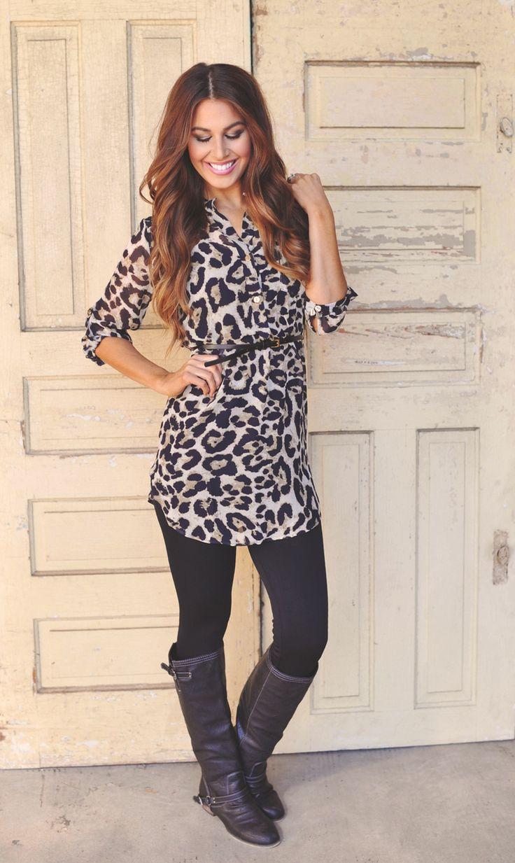Chiffon Tunic- Leopard - Dottie Couture Boutique