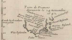 1663 map of Van Diemen's Land, showing the areas discovered by Tasman, including Storm Bay, Maria Island and Schouten Island.