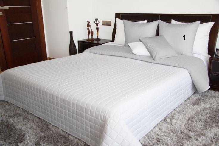 Narzuta dwustronna na łóżko w kolorze biało szarym