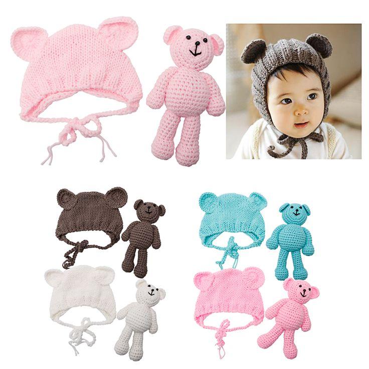 1セット新生児の赤ちゃんクマの帽子写真の小道具かぎ針編みビーニー写真アクセサリー