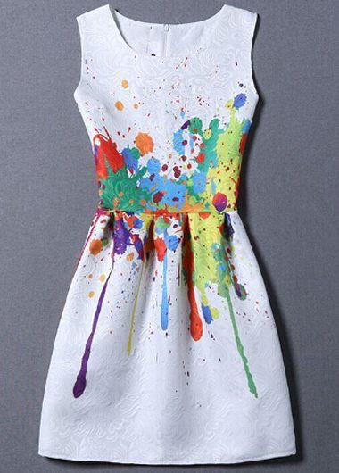 Splash Ink Design White Mini Dress on sale only US$23.44 now, buy cheap Splash…