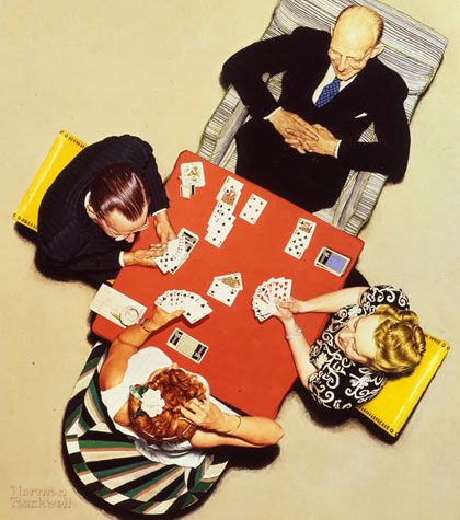 Norman RockwellRockwell Art, 1948, Norman Rockwell, The Bridges, Bridges Games, Games Art, Cards Games, Normanrockwel, Plays Cards