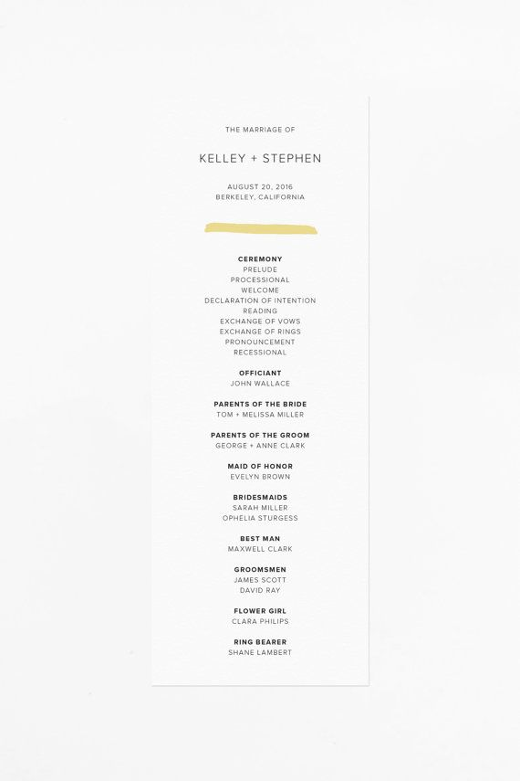 modern secular wedding ceremony script%0A Printable Wedding Program Modern Wedding Suite by JaymeeSrpDesign