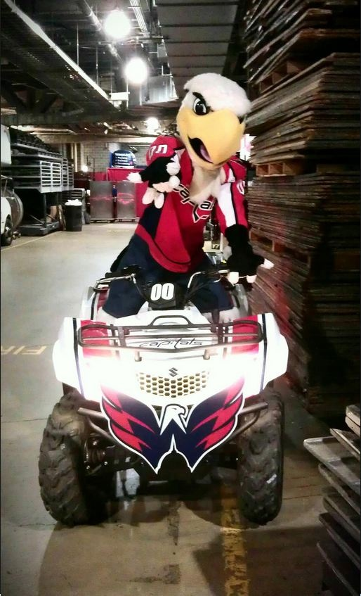 Slapshot getting pumped up before taking the ice on his ATV