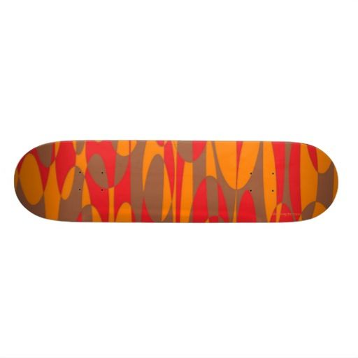 Orange, Red and Brown Skateboard by Khoncepts.com