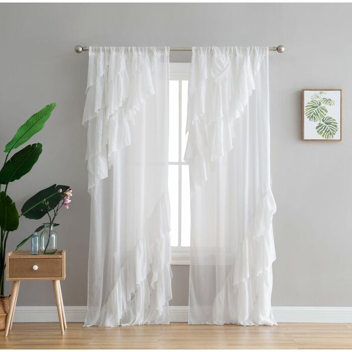 Leis Window Cotton Blend Solid Color Semi Sheer Single Curtain