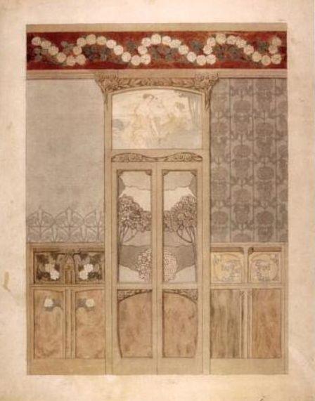 акварельный эскиз Гаспара Омара для оформления дверей, деревянной обшивки стен и декоративного панно над дверью в гостиной Каса Навас
