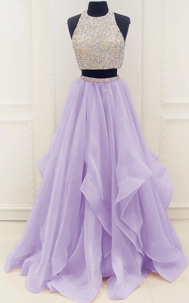 Two Pieces Lilac Prom Dress, Prom Dresses,Graduation Party Dresses, Prom Dresses For Teens