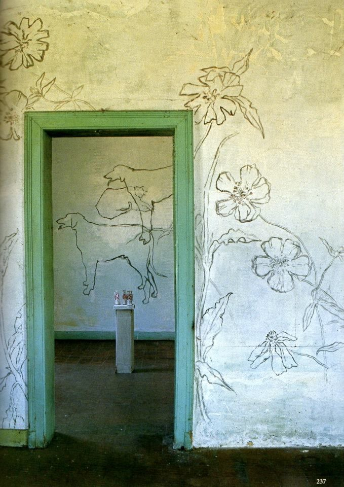 """Dogs, a cat and flowers oh my""-Jean Cocteau, Villa  Santo Sospir 1952"