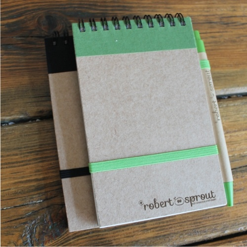Eco friendly notebooks with cardboard barrel pen www.robertsprout.co.za