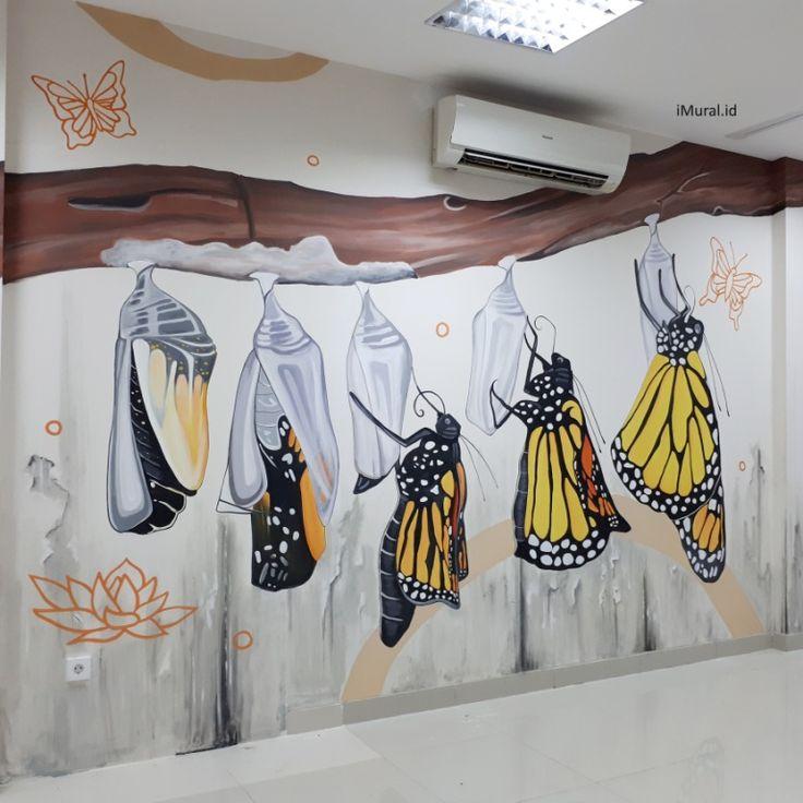 mural, jasa mural, mural kantor, jasa mural kantor, mural kupu-kupu, mural metamorfosis-Desain by iMural