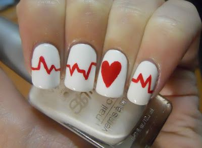 Holy Manicures thank @Sarah Dodge-Navarrete: Heartbeat Nails, Idea, Valentines, Nailart, Makeup, Nail Designs, Nail Art