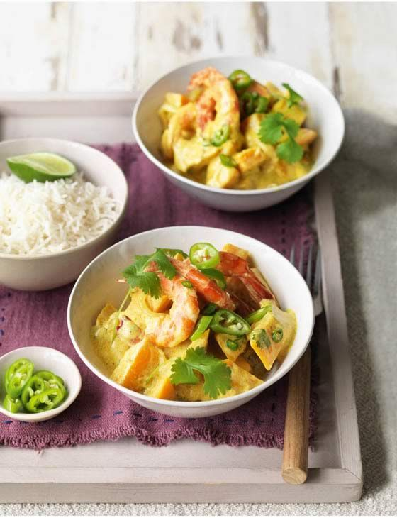 Spiced squash and prawns with coconut and chilli