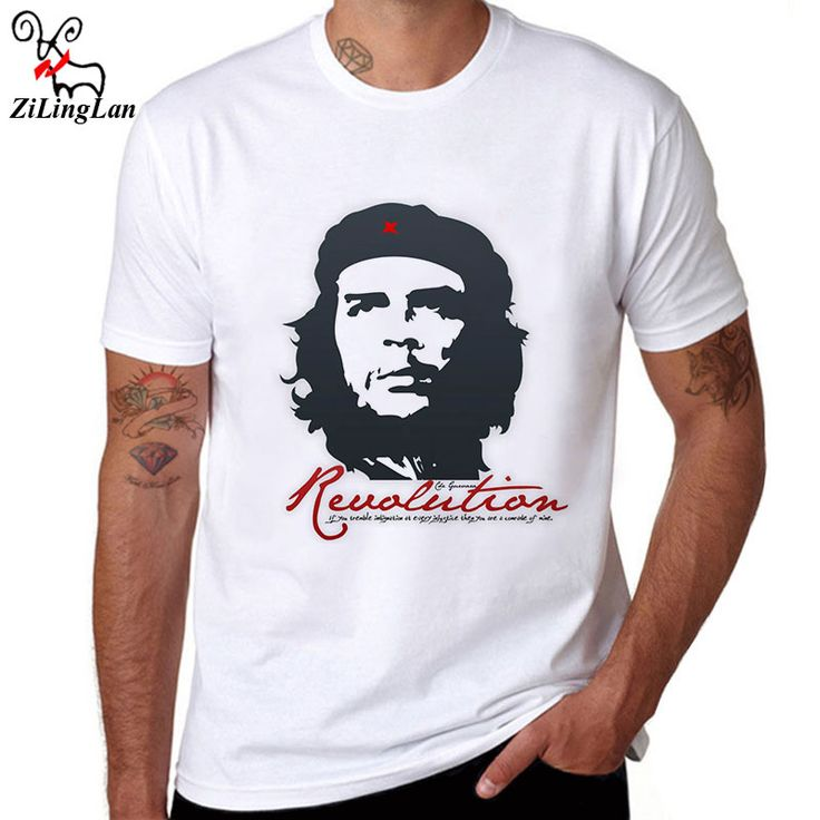 ZiLingLan Che Guevara Hero Printed Cotton Men T shirt Short Sleeve Casual t-shirts Hipster Pattern Tees Cool Tops US/EUR Size