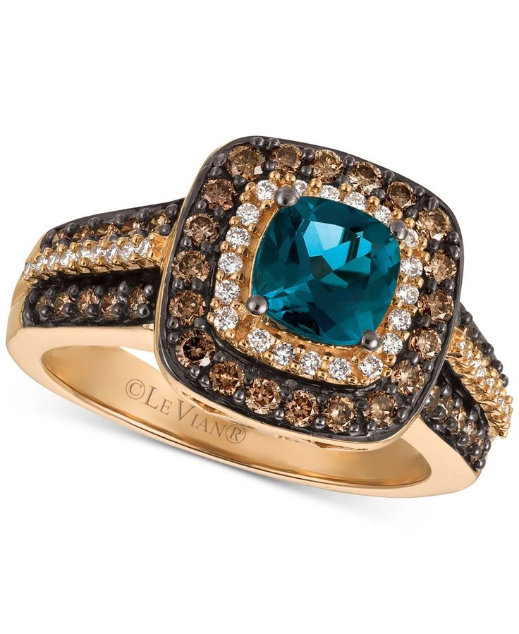 Le Vian Blue Topaz Ring With Chocolate Diamonds