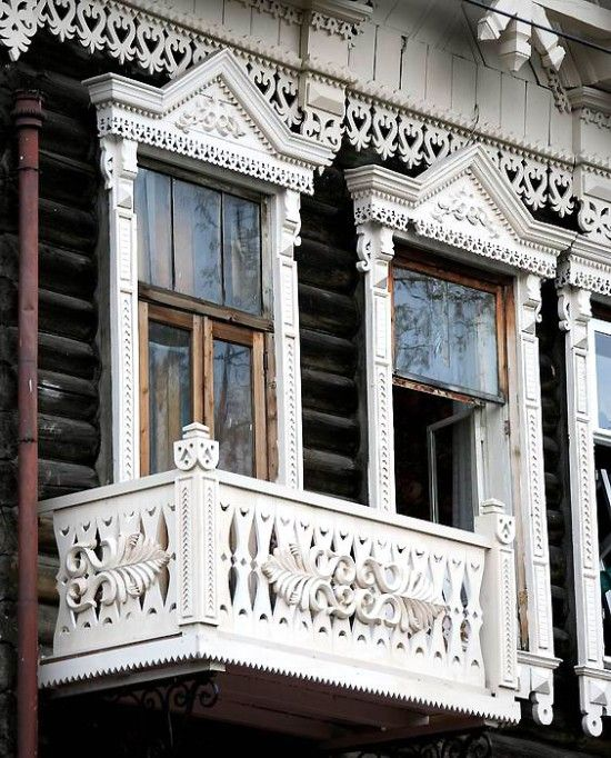 Tomsk City Siberia Russia Russian Windows And Wooden
