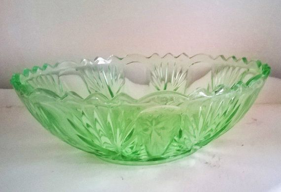 Art Deco Green Pressed Glass Fruit Bowl by RAVERETRO on Etsy
