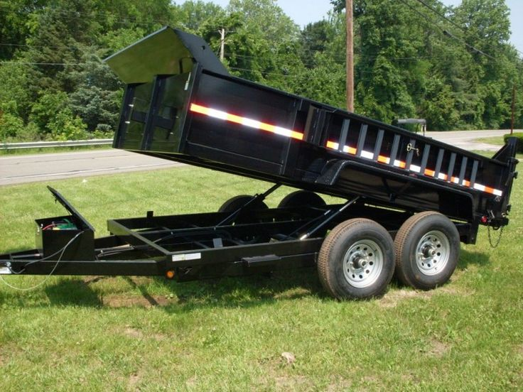 Griffin 12' Steel Dump Trailer - Dual Cylinders, Power Up/Down, Adjustable Coupler, 7000# Drop-Leg Jack, Ramps, Spreader Gate  - $5860 (2 available at this price).