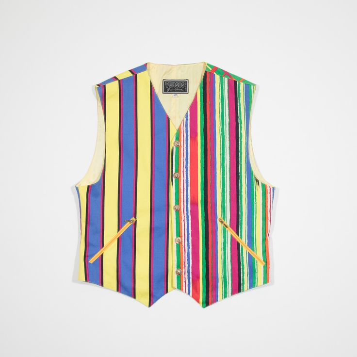 ✦ CLICK TO BUY ✦ VERSACE - Multicolor cotton vest - Gilet a righe multicolore in cotone - Millesimè Vintage Clothing & accessories