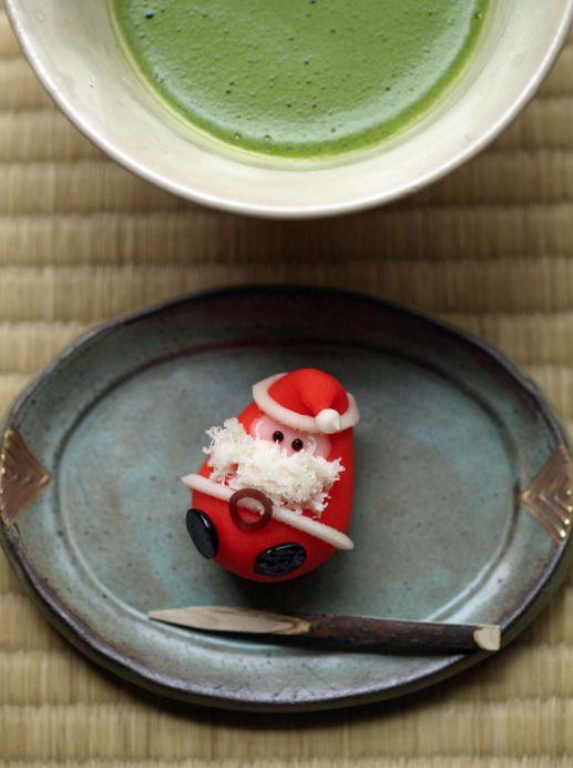Japanese wagashi sweets for christmas and matcha tea.