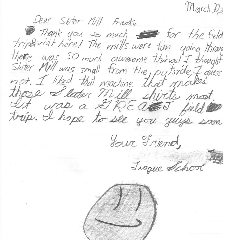 Thank you note from an elementary school student after his
