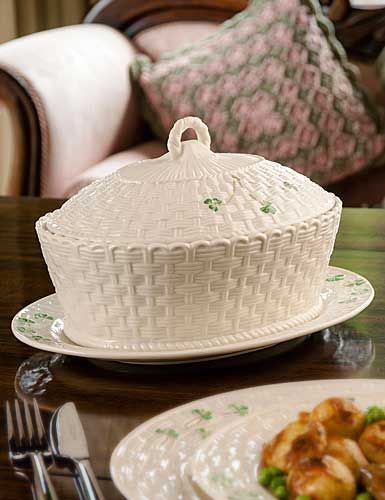 Belleek China Shamrock Oval Covered Dish