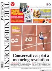 The Independent on Sunday (UK) Newspaper Front Page for 30 August 2015
