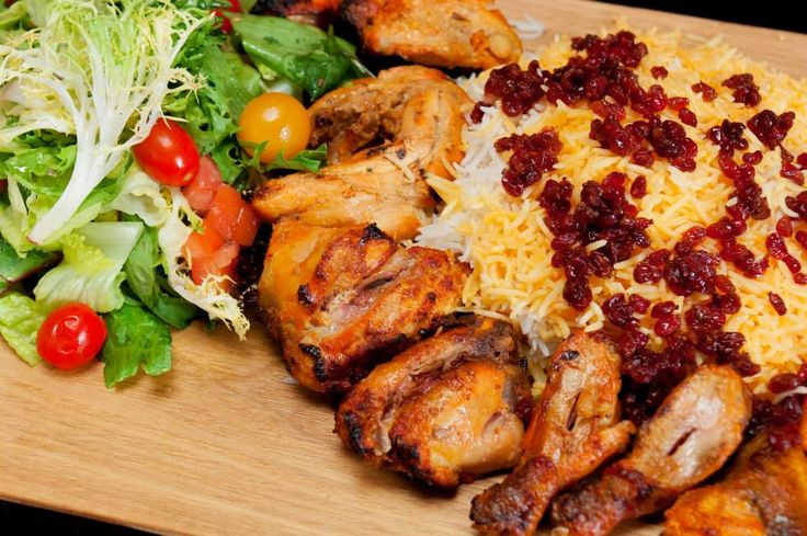 Zereshk Polo (Barberry Rice & Chicken)   Charbroiled Chunks Of Chicken Tenderloin, Served With Rice & Barberry (Sweet And Tart Red Berries)