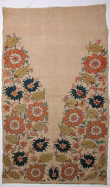 Late-Ottoman embroidered towel end, from Turkey, ca. 1800.  Silk & metal wrapped thread on linen (plain weave).  Size: 479 x 82.5 cm.  (Met Museum, N.Y.).