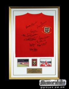 This piece of exceptional history, hand signed shirt by the 1966 world cup legends Sir Geoff Hurst, Nobby Stiles, Gordon Banks, Roger Hunt, Ray Wilson, Martin Peters, Jack Charlton, Sir Bobby Charlton, Alan Ball and George Cohen Great photos of the team included in the display. FREE UK deliveries too!