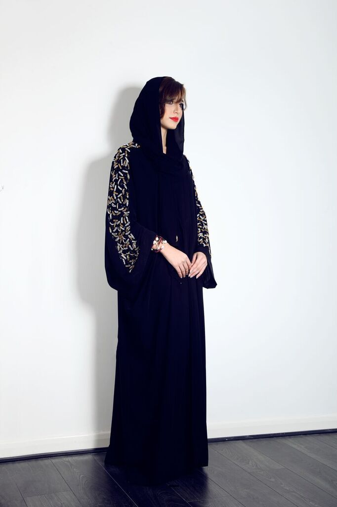 This stunning Batwing Abaya with gold and silver sleeve embellishment is on our website now, for only £120